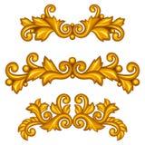 Sistema de volutas antiguas ornamentales barrocas del oro y Imagenes de archivo