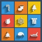 Sistema de web de la Navidad 9 y de iconos móviles. Vector. Foto de archivo