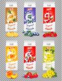 Sistema de yogur en cajas con la fruta y las bayas Foto de archivo libre de regalías