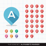 Sistema de A-Z Alphabet Pin Marker Flat Icons con el lon Fotografía de archivo