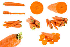Sistema de zanahorias aisladas en blanco Imágenes de archivo libres de regalías