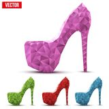 Sistema de zapatos abstractos coloridos de la mujer en los tacones altos Fotos de archivo libres de regalías