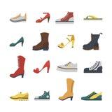 Sistema de zapatos del plano-estilo coloreados Hombres y zapatillas de deporte de las mujeres, zapatos y botas fotos de archivo