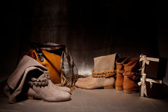 Sistema de zapatos femeninos de los productos adornados con los acsessuares del otoño Fotografía de archivo