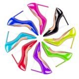 Sistema de zapatos femeninos del color aislados en blanco Imagen de archivo