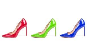 Sistema de zapatos femeninos del tacón alto del color aislados en blanco Fotos de archivo libres de regalías