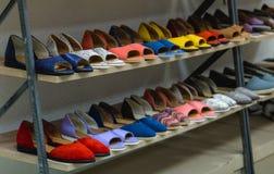 Sistema de zapatos femeninos en el estante Imagen de archivo