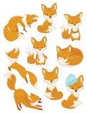 Sistema de zorros de la historieta Colección de zorros lindos Ejemplo del vector para los niños Animales salvajes Foto de archivo libre de regalías