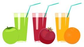 Sistema de zumos de fruta aislados en el fondo blanco Zumo de manzana, p Ilustración del Vector