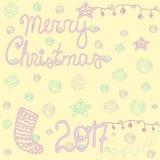 Sistema decorativo de la Feliz Navidad del vintage, tarjeta Imagen de archivo