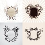 Sistema decorativo del ornamento del escudo Imagenes de archivo
