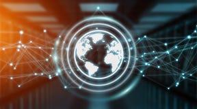 Sistema dei collegamenti sulla rappresentazione dell'icona 3D del mondo Fotografia Stock Libera da Diritti