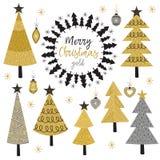 Sistema del árbol aislado del oro de la Navidad Foto de archivo libre de regalías