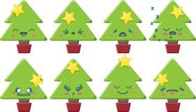 Sistema del árbol de navidad de Kawaii de la historieta Imágenes de archivo libres de regalías