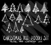 Sistema del árbol de navidad de la colección del dibujo del garabato del vector en negro Fotos de archivo