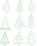 Sistema del árbol de 9 nuevo-años Imagen de archivo libre de regalías