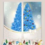 Sistema del Año Nuevo de la Navidad del azul de las postales c Imagen de archivo