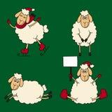 Sistema del Año Nuevo de las ovejas y de los corderos en un verde Fotografía de archivo libre de regalías