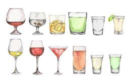 Sistema del alcohol de la acuarela ilustración del vector