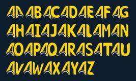 Sistema del alfabeto amarillo hecho de letras ligadas en un fondo negro Foto de archivo libre de regalías