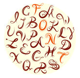 Sistema del alfabeto de la caligrafía Imagen de archivo libre de regalías