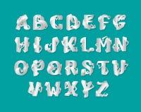 sistema del alfabeto de la papiroflexia 3d de letras mayúsculas Letra elegante decorativa blanca aislada vector ABC Fuente de ent stock de ilustración