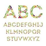 Sistema del alfabeto de las verduras Imagenes de archivo