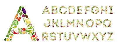 Sistema del alfabeto de las verduras stock de ilustración
