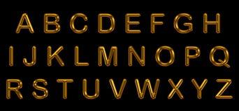 Sistema del alfabeto del oro Imágenes de archivo libres de regalías