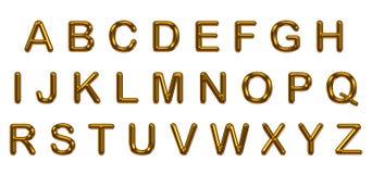 Sistema del alfabeto del oro en el fondo blanco Imagen de archivo libre de regalías