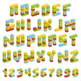 Sistema del alfabeto hecho de los bloques del juguete aislados libre illustration