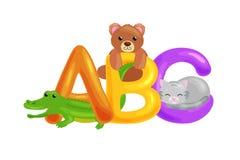Sistema del alfabeto para las letras de los niños, educación en preescolar, aprendizaje lindo de los animales del ABC de la diver Imágenes de archivo libres de regalías