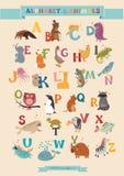 Sistema del alfabeto y del vector del animal Imagen de archivo