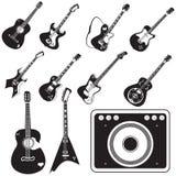 Sistema del amplificador y de la guitarra de iconos Fotos de archivo