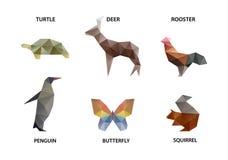 Sistema del animal de polígonos stock de ilustración