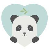 Sistema del animal Retrato de una panda en amor sobre corazón Foto de archivo