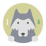 Sistema del animal Retrato en gráficos planos Lobo libre illustration