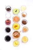 Sistema del aperitivo del pan diversas natillas, ñame, miel, chocolate y Fotografía de archivo libre de regalías