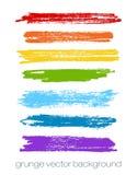 Sistema del arco iris del vector de movimientos del cepillo del grunge Vector Imágenes de archivo libres de regalías