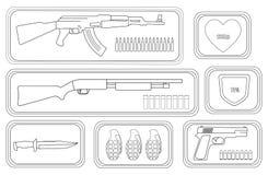 Sistema del arma de los videojuegos contorno Fotografía de archivo