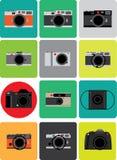 Sistema del artículo raro de la película del punto rojo retro de la cámara en estilo mínimo colorido Fotografía de archivo libre de regalías