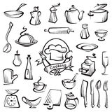 Sistema del artículos de cocina Foto de archivo libre de regalías