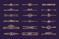 Sistema del art déco Ornamento de los años 20 del vintage, jefes y divisores de oro, elemento retro del estilo del nouveau de la  libre illustration
