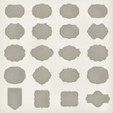 Sistema del arte de la etiqueta del marco del vintage del vector plantilla para el diseño retro Textura de cuero Vector Imágenes de archivo libres de regalías