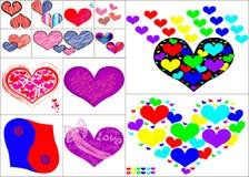 Sistema del arte del símbolo de los corazones fotos de archivo