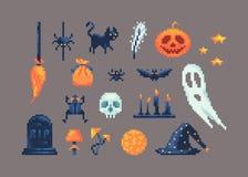 Sistema del arte del pixel de diversos artículos para el diseño en Halloween Fotografía de archivo libre de regalías