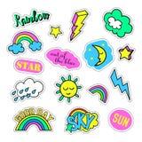Sistema del arte pop con las insignias del remiendo de la moda y diversos elementos del cielo Etiquetas engomadas, pernos, remien stock de ilustración