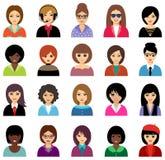 Sistema del avatar de la mujer Foto de archivo libre de regalías