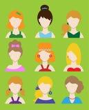 Sistema del avatar o del pictograma femenino para las redes sociales Estilo colorido plano moderno Vector Foto de archivo