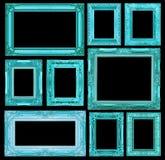 Sistema del bastidor azul del vintage aislado en fondo negro Imagen de archivo